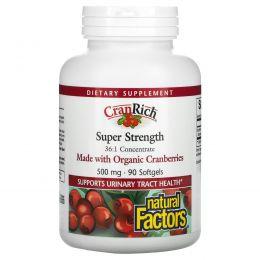 Natural Factors, CranRich, Клюква, Супер сила, 90 гелевых капсул