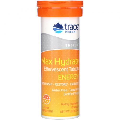 Trace Minerals Research, Max-Hydrate Energy, High Performance Electrolyte Fizzing Tablets, Orange, 1.55 oz (44 g)