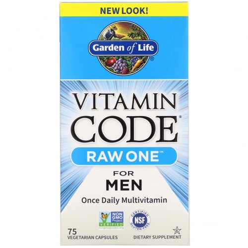 Garden of Life, Код витамина, Ряд первый, один раз в день Raw поливитамины для мужчин, 75 Veggie Caps