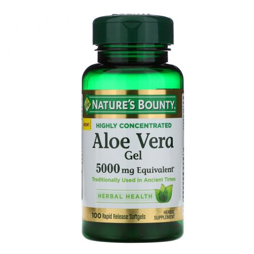 Nature's Bounty, Гель алоэ вера, эквивалент 5000 мг, 100 мягких таблеток ускоренного высвобождения