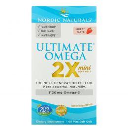 Nordic Naturals, Ultimate Omega mini, со вкусом клубники, 650 мг, 60 штук