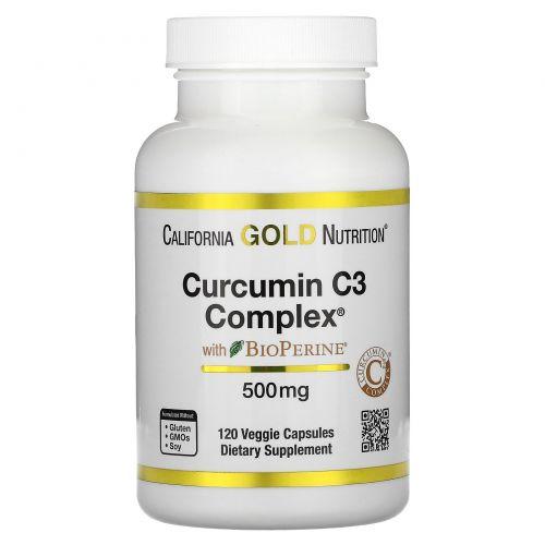 California Gold Nutrition, Куркумин C3 комплекс с биоперином, формула поддержки при воспалении, 500 мг, 120 вегетарианских капсул