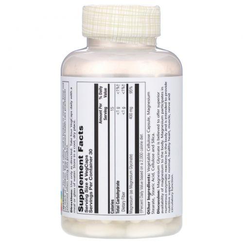 Solaray, Глицинат магния, 400 мг, 120 капсул на растительной основе