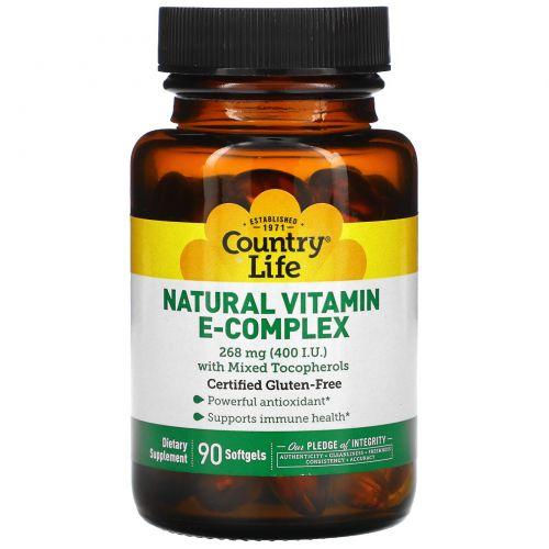 Country Life, Комплекс натуральных витаминов группы E, 400 МЕ, 90 гелевых капсул