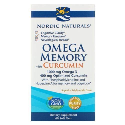Nordic Naturals, Omega Memory with Curcumin, 1000 mg, 60 Soft Gels