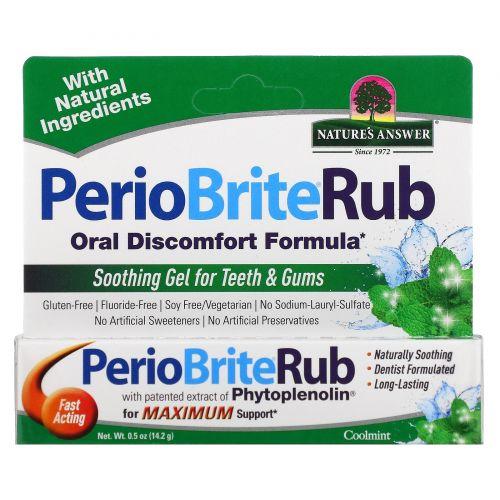 Nature's Answer, PerioBriteRub, успокаивающий гель для зубов и десен, прохладная мята, 0,5 унции (14,2 г)