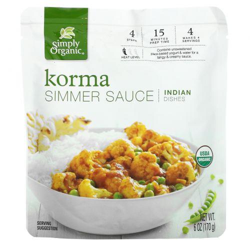 Simply Organic, Korma Simmer Sauce, Indian Dishes, 6 oz (170 g)