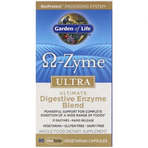 Garden of Life, O-Zyme ультра, наилучший комплекс пищеварительных ферментов, 90 растительных капсул