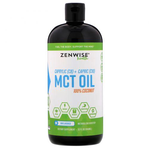 Zenwise Health, Триглицеридное масло с цепочками средней длины, 100% кокос, C8 плюс C10, 32 унции (946 мл)