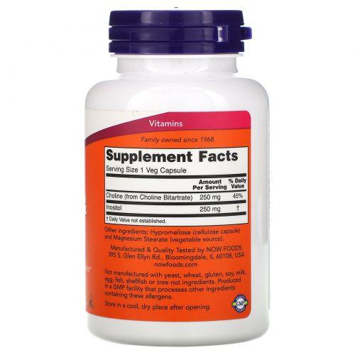 Now Foods, Холин и инозитол, 500 мг, 100 капсул