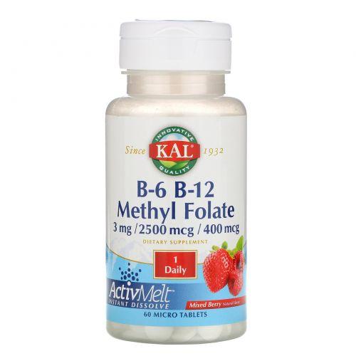 KAL, B-6 B-12 Methyl Folate, Mixed Berry, 3 mg / 2500 mcg / 400 mcg, 60 Micro Tablets