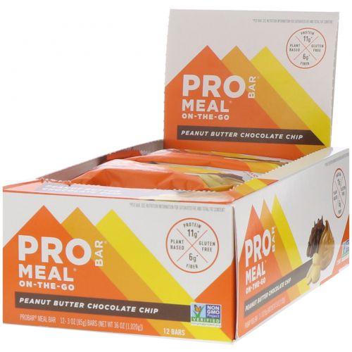 ProBar, Meal Bar, Арахисовое масло с шоколадом, 12 батончиков, 3 унции (85 г) каждый