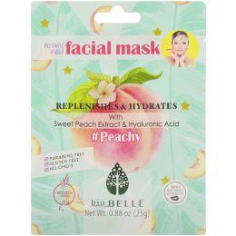 Biobelle, #Peachy, тканевая растительная маска для лица, питает и увлажняет, 1шт., 25г (0,88унции)