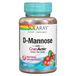 Solaray, D-манноза, с CranActin, 120 вегетарианских капсул