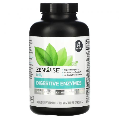 Zenwise Health, Advanced Digestive Enzymes with Enzymes and Probiotics, Plant Sourced Blend, 180 Veggie Caps