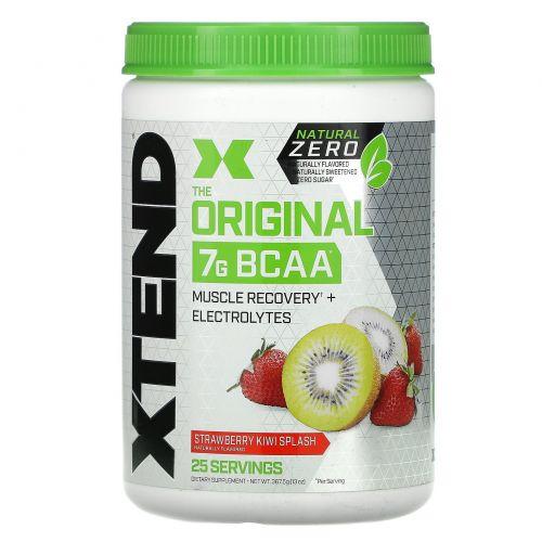 Scivation, Xtend Natural Zero, The Original, 7г аминокислот с разветвленной цепью (BCAA), вкус «Коктейль из клубники и киви», 367,5г