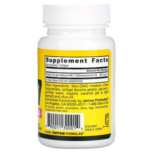 Jarrow Formulas, MK-7, витамин K2 в форме MK-7, 90 мкг, 60 мягких капсул