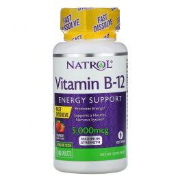 Natrol, Витамин B-12, быстрое растворение, клубничный аромат, 5000 мкг, 100 таблеток