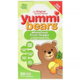 Hero Nutritional Products, Yummi Bears, Wholefood Fruit + Veggie, 90 Gummy Bears