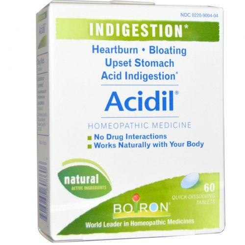 Boiron, Acidil, при кислотном несварении, 60 быстрорастворимых таблеток