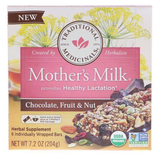 Traditional Medicinals, Mother's Milk, шоколад, фрукты и орехи, 6 батончиков в индивидуальной упаковке, 7,2 унц. (204 г)
