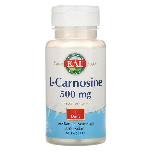 KAL, L-карнозин, 500 мг, 30 таблеток