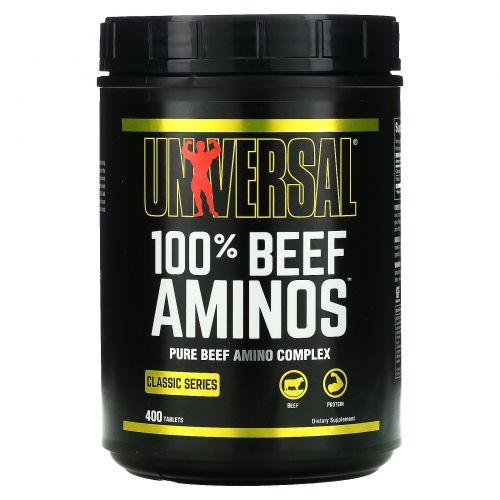 Universal Nutrition, 100% Аминокислоты Говядины, Добавка Замедленного Высвобождения,  400 таблеток