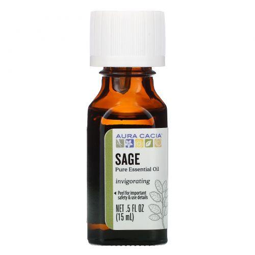 Aura Cacia, 100% натуральное эфирное масло, шалфей, стимулирующий мысли 0.5 жидких унции (15 мл)