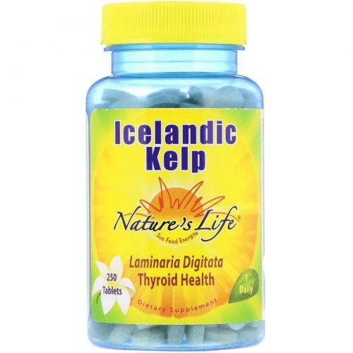 Nature's Life, Исландская бурая водоросль, 250 таблеток