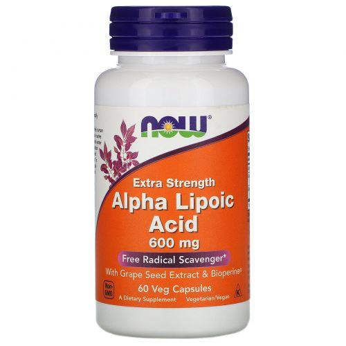 Now Foods, Альфа-липоевая кислота, 600 мг, 60 растительных капсул