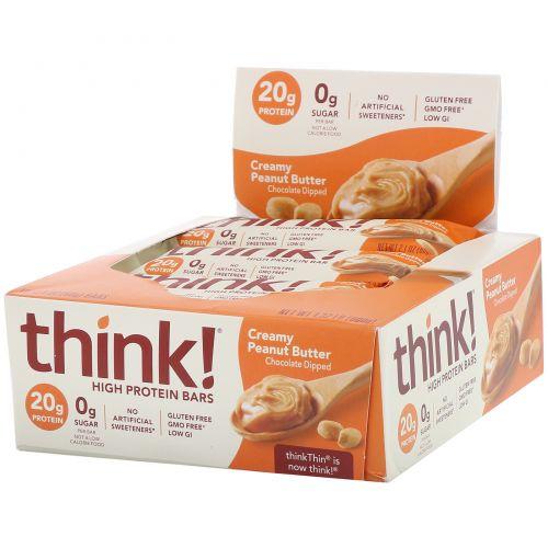 ThinkThin, Сливочное арахисовое масло, 10 батончиков, (60 г) каждый