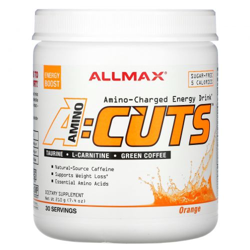 ALLMAX Nutrition, AMINOCUTS, Weight Loss BCAA+EAA, Taurine, CLA, Green Coffee, Arctic Orange, 7.4 oz (210 g)
