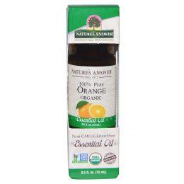 Nature's Answer, Органические эфирные масла, масло апельсина, 0,5 жидких унций (15 мл)