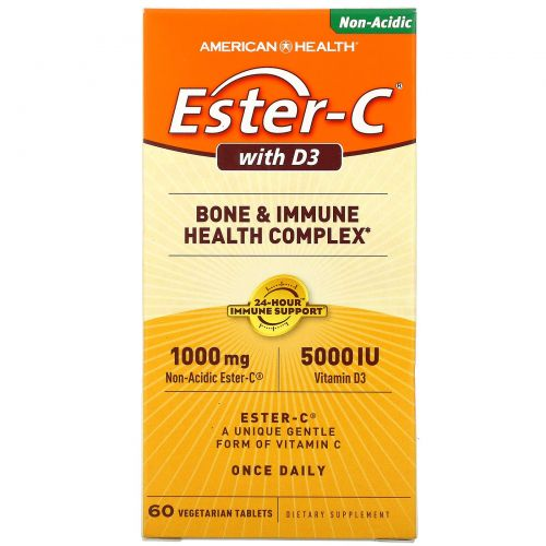 American Health, Эстер-C с D3, оздоровительный комплекс для костей и иммунитета, 1000 мг/5000 МЕ, 60 вегетарианских таблеток
