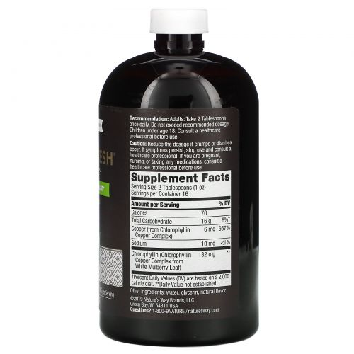 Nature's Way, Chlorofresh, жидкий хлорофилл, с ароматом мяты, 16 жидких унций (473,2 мл)