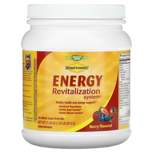 """Enzymatic Therapy, Система восстановления энергии Fatigued to Fantastic! со вкусом """"ягодное буйство"""", 21,48 унций (609 г)"""