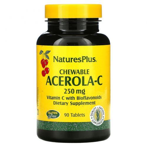 Nature's Plus, Жевательные Таблетки Ацерола-С, 250 мг, 90 таблеток