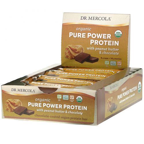 Dr. Mercola, Organic Pure Power Protein, Peanut Butter & Chocolate, 12 Bars, 1.83 oz (52 g) Each