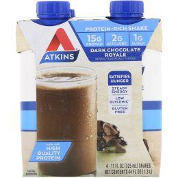 Atkins, Королевский коктейль с темным шоколадом, 4 коктейля, 11 жидк. унц. (325 мл) каждый