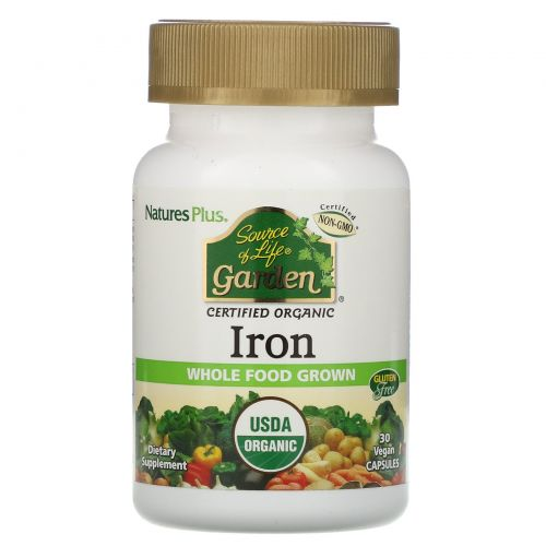 Nature's Plus, Source of Life Garden, Iron, 30 Vegan Capsules