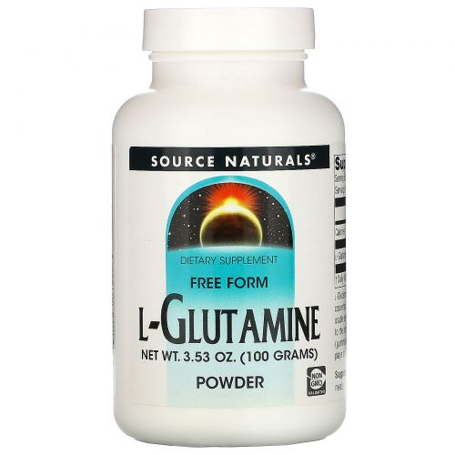 Source Naturals, L-глютамин, порошок в свободной форме 3.53 унции (100 г)