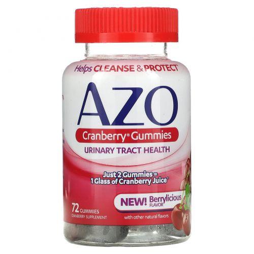 Azo, Жевательные таблетки с клюквой, смешанный вкус ягод, 72 жевательные таблетки с натуральным вкусом
