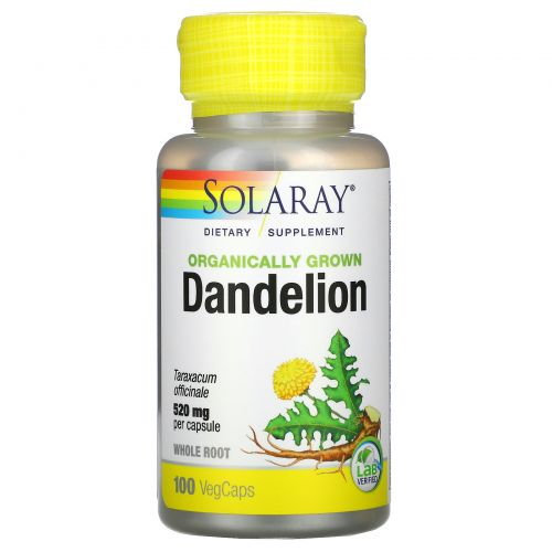Solaray, Одуванчик, выращенный с использованием органических методик, 520 мг, 100 капсул с оболочкой из ингредиентов растительного происхождения