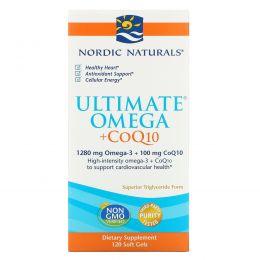 """Nordic Naturals, """"Предельная омега + КоQ10"""", пищевая добавка на основе рыбьего жира с омега-3 и коферментом Q10, 1000 мг, 120 мягких желатиновых капсул с жидкостью"""