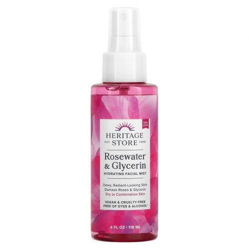 Heritage Products, Розовая вода и глицерин, Спрей, 4 жидких унции (120 мл)