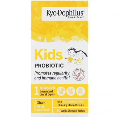 Wakunaga - Kyolic, Детский Kyo-дофилус, жевательные таблетки с ванилью, 60 таблеток
