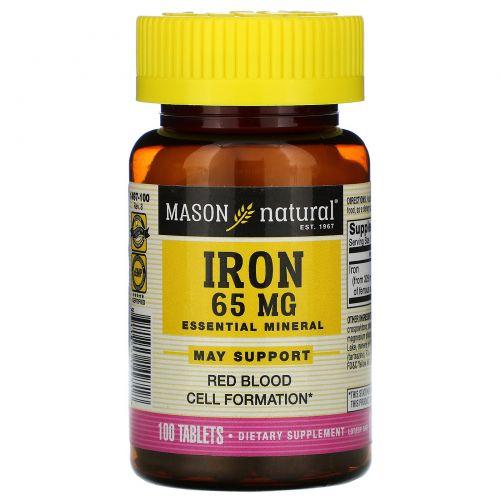 Mason Naturals, Железо, без сахара, 65 мг, 100 зеленых таблеток