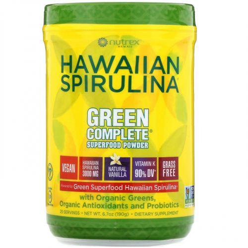 Nutrex Hawaii, Гавайская спирулина, порошок из суперфудов Green Complete, натуральная ваниль, 190г (6.70унций)