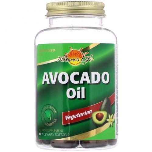 Nature's Life, Масло авокадо, 60вегетарианских мягких таблеток