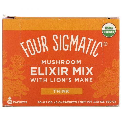 """Four Sigmatic, Грибной напиток """"Львиная Грива"""", 20 пакетиков, 0,1 унции (3 г) Каждый"""